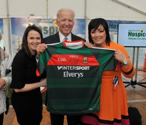 Joe's Backing Mayo on sunday. Former US Vice President Joe Biden was in Castlebar yesterday (today) to officially turn the sod on the new Mayo Roscommon Hospice facility, pictured with Laurita Blewitt and Martina Jenning (Mayo Roscommon Hospice). Pic Conor McKeown