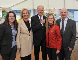 Former US Vice President Joe Biden was in Castlebar to officially turn the sod on the new Mayo Roscommon Hospice facility, pictured with Anne Royane, Martina Hughes, Mags Connell and Peter Hynes CEO Mayo County Council. Pic Conor McKeown