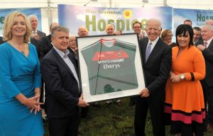 At the official 'Sod Turing ' on the new Mayo Roscommon Hospice facility in Castlebar Mayo GAA County Board Chairman Mike Connelly presented US Vice President Joe Biden with a autographed Mayo Team jersey alongside Joanne Hynes and Martina Mayo Roscommon Hospice.Pic Conor McKeown