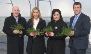 Pictured at Castlerea Prison where the Shamrocks have been growing since late September is L-R: Governor Reilly (Castlera Prison), Monica Brogan (Fundraising Manager Mayo Roscommon Hospice), Martina Jennings (CEO Mayo Roscommon Hospice) & Governor Shally (Castlerea Prison)