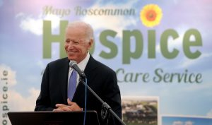 Joe's Backing Mayo on sunday. Former US Vice President Joe Biden was in Castlebar to officially turn the sod on the new Mayo Roscommon Hospice facility. Pic Conor McKeown